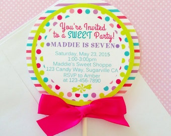 12 lollipop invitations, custom printed lollipop invites, candy buffet invitations, polka dot and stripes invites