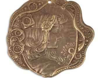 Vintaj Brass Ox Woman Daisy Maiden Profile Cameo Focal Charm Pendant Antiqued Brass Ox Art Nouveau 30 mm Qty 1