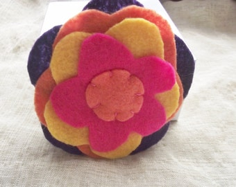 Flower Lapel Pin Pink Brooch Purple Orange Yellow Goldenrod Round Floral Fuchsia Fashion Accessory Embroidered Scarf Personal decoration