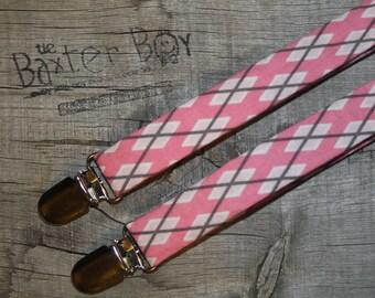 Pink & Grey argyle little boy suspenders - photo prop, wedding, ring bearer, accessory