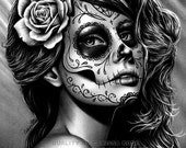 5x7, 8x10, or apprx. 11x14 in Signed Art Print - Duality - Day of the Dead Sugar Skull Girl Black and White Tattoo Art Portrait