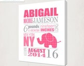 Birth Announcement Wall Art Canvas // Elephant Print on Canvas // Elephant in pink & grey // Girl's Nursery Announcment Canvas // Baby Gift