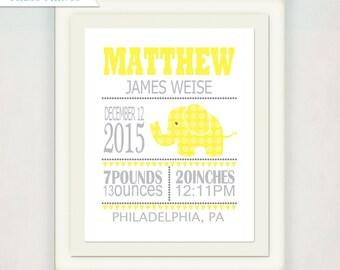Boy's Elephant Birth Announcement // Yellow and Grey Custom Elephant Print with Baby's name // Kid's Nursery Wall Art // Boy's Baby Gift