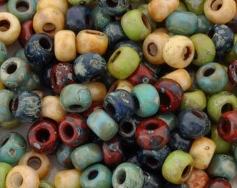 Seed Beads-6/0 Round-011 Hybrid Opaque Picasso-Miyuki-16 Grams