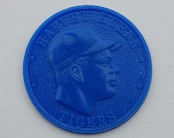 Vintage, mid-century, 1959 baseball Armour Hot Dog Premium Coin. Harvey Kuenn. Tigers. Blue.
