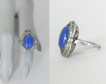 Vintage 30s Ring / 1930s Art Deco Sterling Silver and Blue Glass Ring