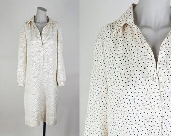 SALE Vintage 70s Dress / 1970s Cream Dot Long Sleeve Sack Dress S M L