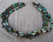 Green Recycled Paper Necklace