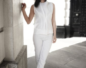 White Linen Pants, Women Linen Clothing, Straight leg pants, Slim pants, Simple pants, Handmade