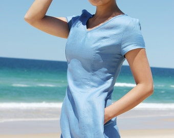V Neck Blue Linen Dress with Pockets, Women Linen Clothing, Valentines day gift