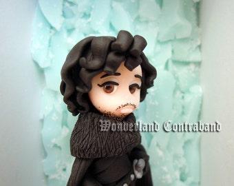 Jon Snow at The Wall - ORIGINAL OOAK Miniature Sculpture - Wall Decor