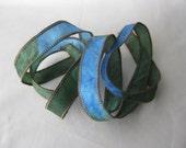 Silk Fairy Ribbons - Hand Dyed Painted Habotai Silk Wrap Bracelet - blue moss green - DIY Bracelet - Jewelry Supply - silk