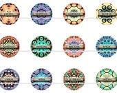 "Boho Affirmations Pins Badges Magnets, 1"" Flat Back Buttons, 1"" Cabochons, Hollow Backs 12 ct"