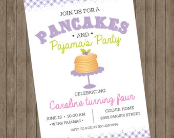 Pancakes and Pajama's Party Invitations