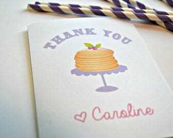 Pancakes and Pajama's Party Thank you Note Cards