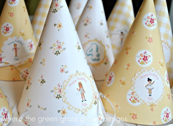Vintage Paper Doll Party Hats
