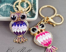 Rhinestone Crystal Enamel Argyle Pattern Feather Owl Alloy Handbag Purse Key Chain Key Ring