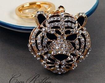 Gold Rhinestone Crystal Tiger Head Cat Alloy Handbag Purse Key Chain Key Ring H15