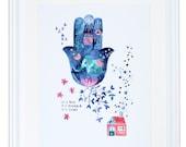 Hamsa Wandbehang, Aquarell, Wahrsagerin, Palm Reader psychischen Druck, es ist Real es ist möglich, es ist deins, Meera Lee Patel