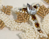Beaded Bridal Applique Vintage Inspired Ivory and Brown Crystal
