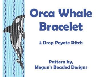 Beading Pattern - 2-Drop Peyote Orca Whale Bracelet Instant Download Design
