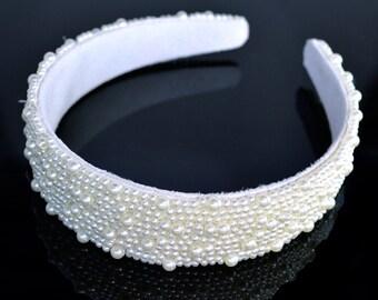 Pearl Bridal Headband - Wide - Bridal Headband - White