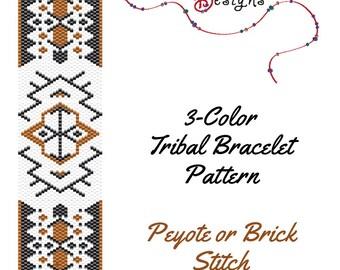 Peyote Beading Pattern Tribal Boho Bracelet Design for Peyote or Brick Stitch