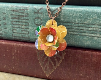 Mini Rose and Copper Leaf Necklace.  Recycled Soda Can Art.  Embossed.  Mango