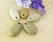 Top Drilled Big Beach Stones, Set of 5 pcs Organic Beads, Supplies DIY Pebbles,Eco friendly stones for Jewelry Design