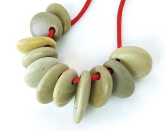 Top Drilled Medium Beach Stones, Set of 5 pcs Big Roundish Organic Beads