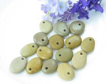Bulk Top Drilled Beach Stones 15 pcs Jewelry Supplies  Eco Friendly Medium Beads Beach Pebbles for Crafts DIY