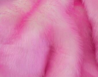 Pink/White Short Pile Faux Fur Craft Size