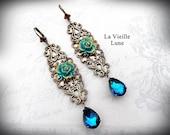 Teal Crystal Victorian Earrings, Antique Brass Art Nouveau Earrings, Victorian Jewelry