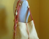vanilla, salmon pink  rose leather handbag, tote with leaf fringe by Tuscada. Ready to ship.