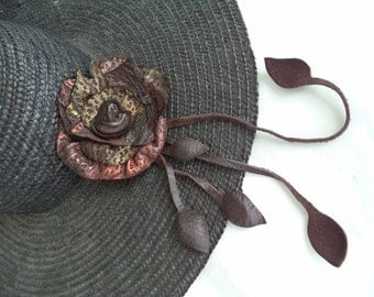 turquoise copper gold leather hat pin, brooch, in an embossed deer skin by Tuscada.  one of a kind Ooak. Ready to ship.