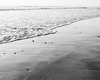 "Black And White Beach Art, Beach Photography, Gray White Decor, Ocean Waves, Dark Wall Art, Monotone, Beach Art, ""BW Shoreline"""