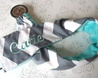 Embroidered Stethoscope Cover - Nurse, Doctor, Med Student, Nursing Student, Medical Assistant - Nurse Gift - Gray Chevron with Aqua