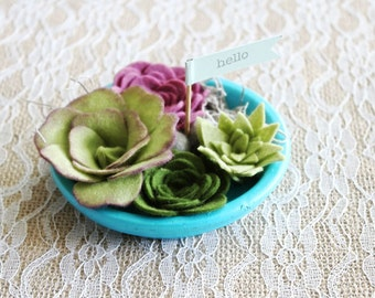 Felt succulent garden / faux garden / faux succulent / felt plant / wedding favor / home decor