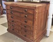 Antique Victorian Era 9 Drawer Wooden Spool Cabinet