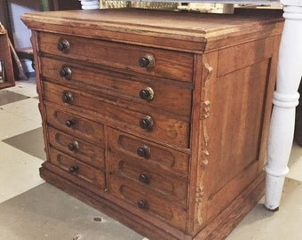 Antique Victorian Era 9 Drawer Wooden Spool Cabinet