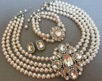 Complete Jewelry Set Necklace Bracelet Earrings Rhinestone Brooch multi strand Swarovski pearl your choice of color Elegant Audrey Hepburn