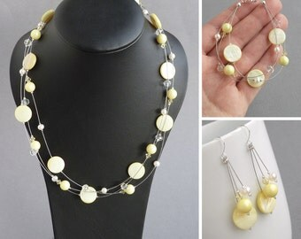 Lemon Jewellery Set - Pale Yellow Bridesmaid Gifts - Light Yellow Floating Pearl Necklace, Bracelet and Drop Earrings - Wedding Jewelry