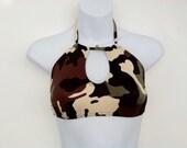 Womens camouflage halter crop bikini top