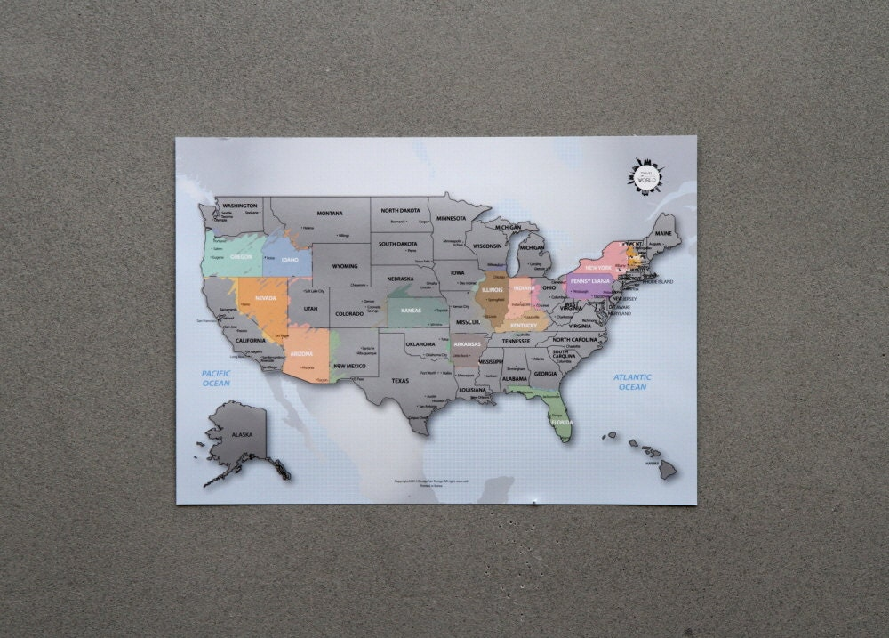 US Scratch Off World Map The United States Of America A - Map of the us poster size