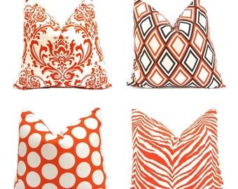 Decorative Throw Pillow Covers, Orange Pillows, 18 x 18 Autumn Decor One Sweet Potato Orange and Natural - Mix and Match Orange Pillows