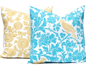 Turquoise Pillow Covers - Decorative Throw Pillow Cover - Turquoise Gold Cushion Covers - Yellow Pillow Covers - Bird on Floral Print