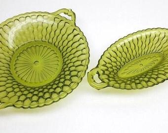 Vintage Green Glass Serving Bowls