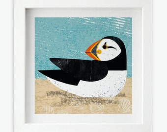 Puffin Sunbathing print