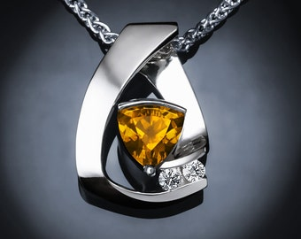 citrine necklace, citrine pendant, November birthstone, white sapphire pendant, Argentium silver, statement jewelry -3452