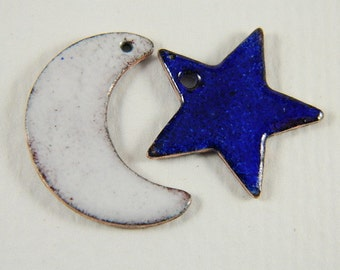 White Moon and Blue Star Enameled Jewelry Components